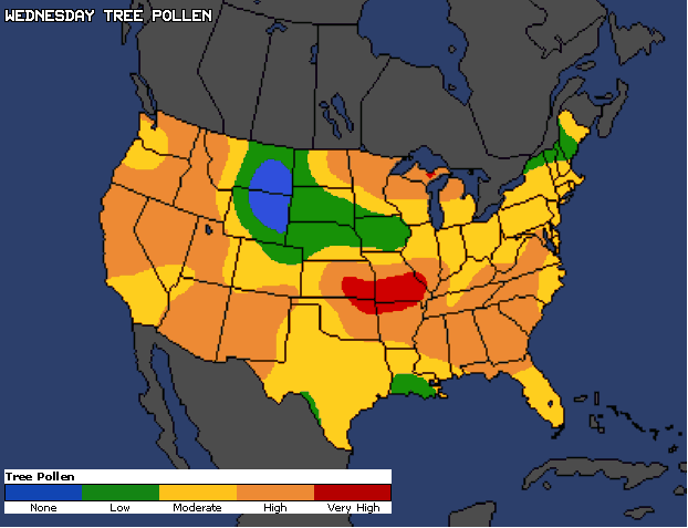 Tree Pollen U. S. Map severity