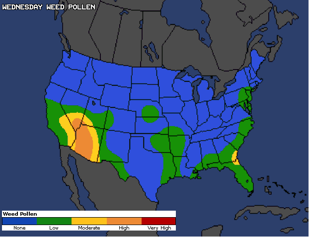 Weed Pollen U. S. Map severity