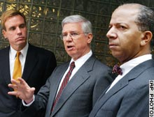 From left: Virginia Gov. Mark Warner, Maryland Gov. Parris Glendening and Washington Mayor Tony Williams