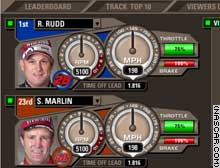 The Pit Command interface shows the speedometer as well as the driver's RPMs.