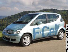 The Mercedes fuel cell car mixes hydrogen with oxygen to make electricity.