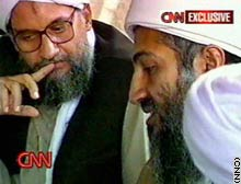 Osama bin Laden (R) shown here with his right-hand man, Ayman al-Zawahiri (L), in one of the tapes discovered by CNN in Afghanistan