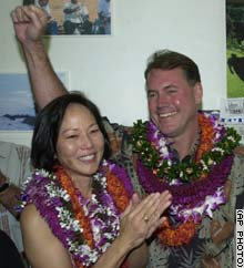 Case and his wife, Audrey, at his campaign headquarters in Honolulu Sunday.