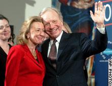 Sen. Joseph Lieberman poses with his wife Hadassah after announcing his presidential bid.