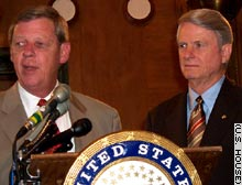 Rep. Johnny Isakson, left, and Sen. Zell Miller, who is retiring