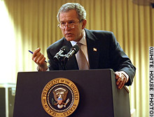 President Bush rehearses his State of the Union address.
