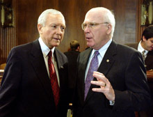 Senate Judiciary Committee Chairman Orrin Hatch, R-Utah, left, with the committee's ranking Democrat, Patrick Leahy of Vermont.