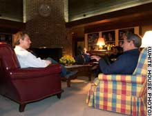 President Bush meets with British Prime Minister Tony Blair at Camp David on Wednesday.