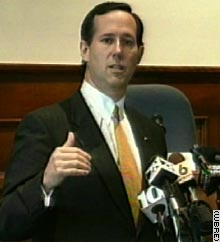Sen. Rick Santorum, R-Pennsylvania, defends his position at a town hall meeting Wednesday.