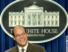 White House press secretary Ari Fleischer smiles during Monday's briefing.