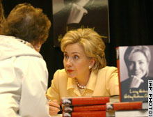 Sen. Hillary Rodham Clinton talks to a book buyer during an appearance Monday at a Manhattan bookstore to promote her memoir,
