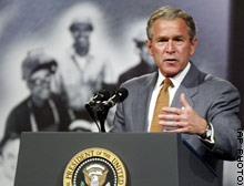 President Bush tells an audience at a Virginia community college that Iraq's Saddam Hussein