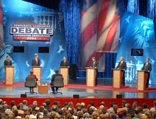 The Democratic candidates saved most of their criticism for President Bush during the debate.