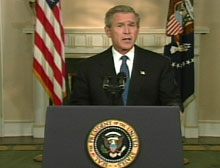 Bush addresses nation from the White House Cabinet Room.