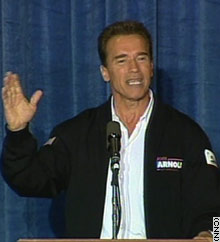 Arnold Schwarzenegger at a San Diego rally kicking off his bus tour Thursday: