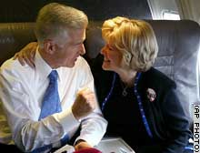 Gray Davis with wife, Sharon, on the campaign plane. Davis credits his wife for a rejuvenation of faith.