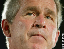 President Bush pressed GOP senators go along with his position on money for Iraq reconstruction.