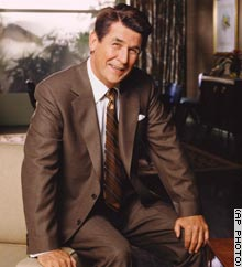 Actor James Brolin as President Ronald Reagan poses on the set of CBS'