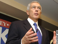 Democratic presidential hopeful Wesley Clark holds a news conference on the Georgia Tech campus in Atlanta Friday.