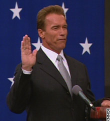 Arnold Schwarzenegger takes the oath of office as governor of California on Monday.