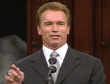 Schwarzenegger speaks after being sworn in as governor Monday.