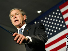 President Bush speaks to GOP supporters at a $2,000-a-plate Bush-Cheney 2004 campaign luncheon in Dearborn, Michigan, Monday.