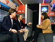 Soledad O'Brien joins Tucker Carlson and Paul Begala in the studio area of CNN's Election Express bus.