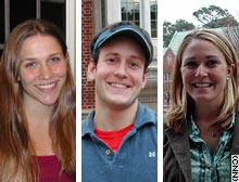 Casey Seidel, Billy Lyons and Lily Hayes, left to right, took Kuswa's rhetoric of terrorism and homeland security course.