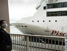 Passenger numbers on cruise ships are well down because of SARS.