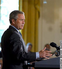 President George W. Bush discusses his HIV/AIDS initiative in the East Room Tuesday,