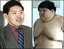 Meng says he has lost 126 kilograms (278 pounds) in three years.