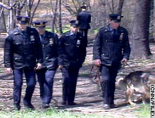 New York City police search Central Park in 1989 for clues to the attack.