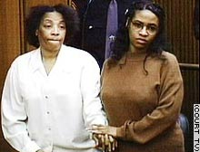 Tonica Jenkins, right, with her mother and co-defendant, Tonica Clement, looks on as the jury's verdict is read in court.