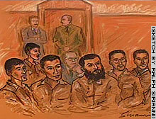 The six defendants are shown in a courtroom sketch from a September court appearance.