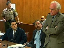 Defendant Scott Peterson, left, in a previous courtroom appearance.