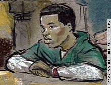Lee Boyd Malvo listens as his attorneys speak in this courtroom sketch from Thursday's hearing.