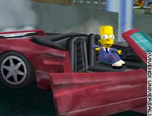 Bart Simpson joy rides in this scene from the game.
