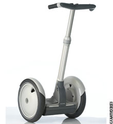 Segways have a hole in each wheel so that they can be tied to bicycle racks or other objects with a chain.