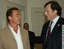 Arnold Schwarzenegger, left, became an unwitting prop in a Marc Benioff production when the CEO bought 500 tickets to a charity premiere of T3.