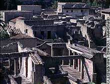 Hot mud that enveloped Herculaneum helped to preserve the buildings over 2,000 years.