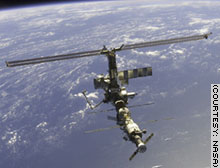 View of the international space station from a visiting spacecraft.