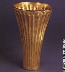 Metal tumblers, like this one, reveal the advanced metallurgy of Mesopotamia.