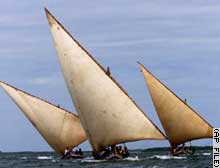 A boat similar to these dhows was fired at in the darkness.