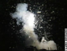 A cruise missile launches from the USS Donald Cook in the Red Sea.