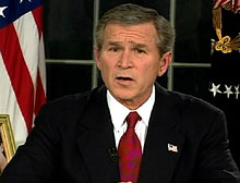 Bush said Saddam had placed troops and equipment in civilian areas in