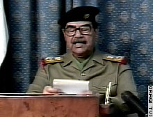 Iraqi President Saddam Hussein addresses the Iraqi people.