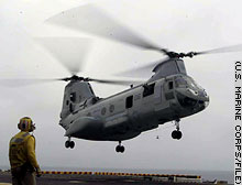 A U.S. Marine Corps CH-46 helicopter