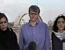 CNN's Ingrid Formanek, from left, Nic Robertson and Rym Brahimi answer questions after arriving in Jordan from Baghdad.