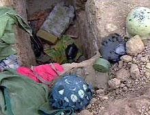 U.S. troops found gas masks in abandoned Iraqi positions on the road to Nasiriya.