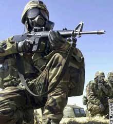 U.S. Army 1st Cavalry Division soldier seen in file picture during chemical attack training.